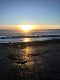 Near sunset at a black sand beach